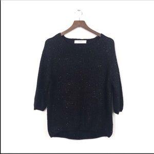 ZARA Black Sparkle Sequin Chunky Knit Sweater L